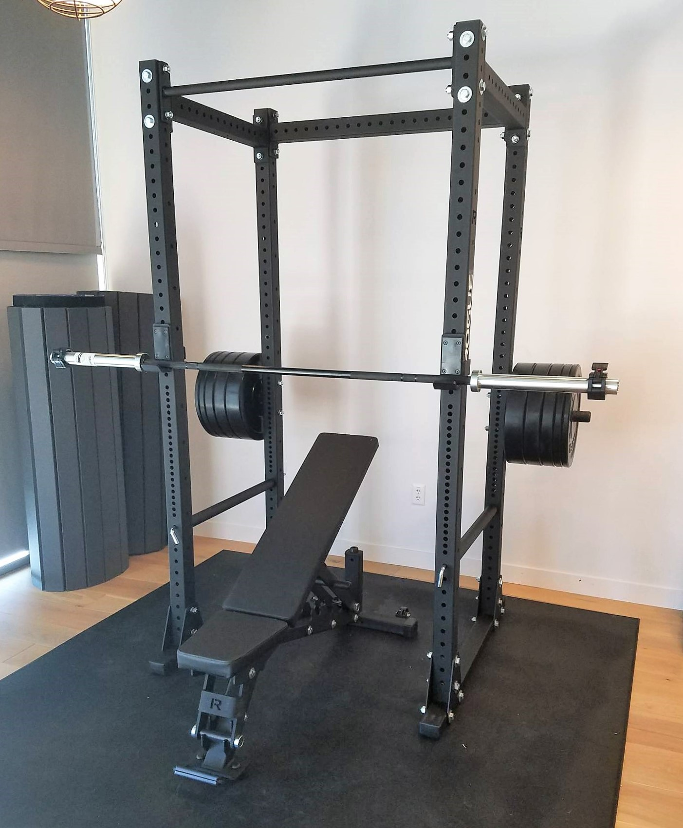 Transmotion Delivery Assembly Installation Relocation Extraction Removal Rogue Fitness San Mateo California RML 390F Flat Foot Monster Lite Rack with Adjustable Bench Ohio Bar Chicago IL Washington California Michigan Indiana Downers Grove IL Local Near me