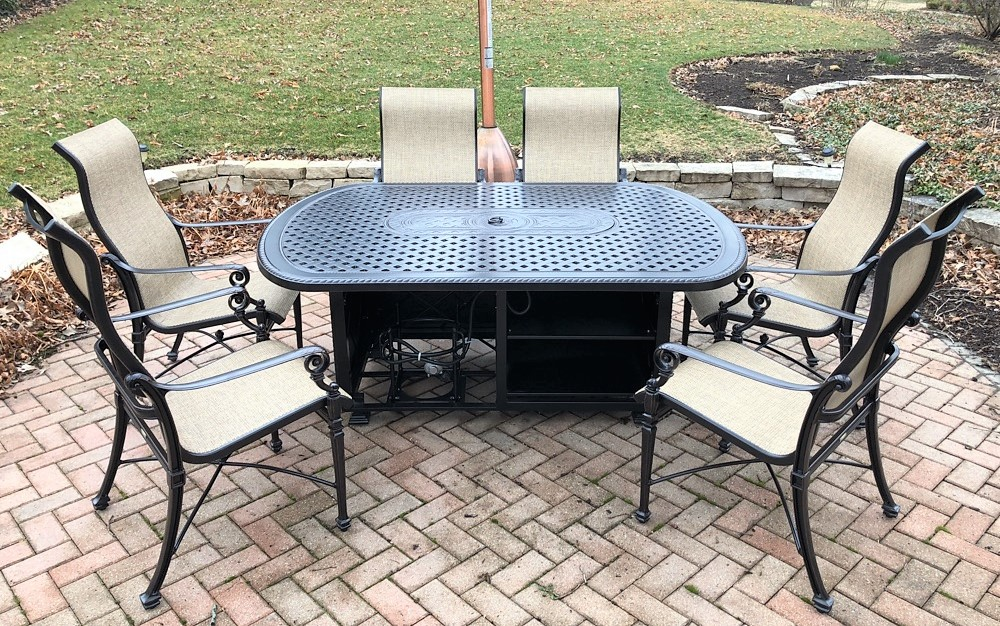 Transmotion Delivery Assembly Installation Relocation Removal Geneva, IL Gensun Casual Grand Terrace 52 x 72 Oval Gas Firepit Grand Terrace Sling High Back Dining Chair Washington California Wisconsin Indiana Michigan IL Chicago