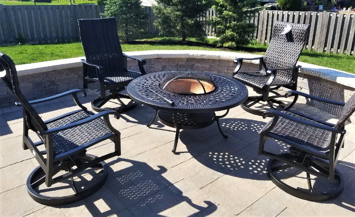 Transmotion Delivery Assembly Installation Relocation of Patio Renaissance Woven Swivel Rockers along with a Hanamint Corporation Berkshire Collection Fire Pit in Pingree Grove IL Illinois Indiana Wisconsin Washington Michigan California Relax Patio Backyard Friends Family Fun Summer Hot Sunny Design Stylish Modern United States America