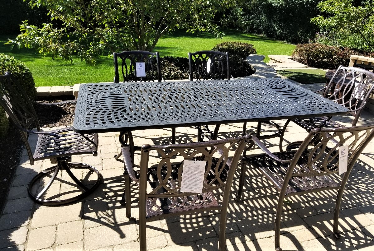 Transmotion delivered and installed a Hanamint Patio Furniture set of 4 Mayfair Collection Dining Chairs and 2 Mayfair Collection Swivel Rockers in ... & Delivery u0026 Installation of Patio Furniture in Deerfield IL ...