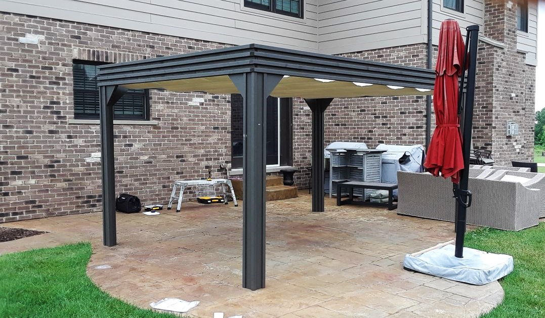 Transmotion Delivery Assembly Installation Relocation of Visscher 10X14 Valencia Gazebo in Frankfort IL Illinois Indiana Wisconsin Washington Michigan California Summer Sunny Warm Weather Fun Family Friends Party Dinner Dining Lunch Modern Design Stylish America United States